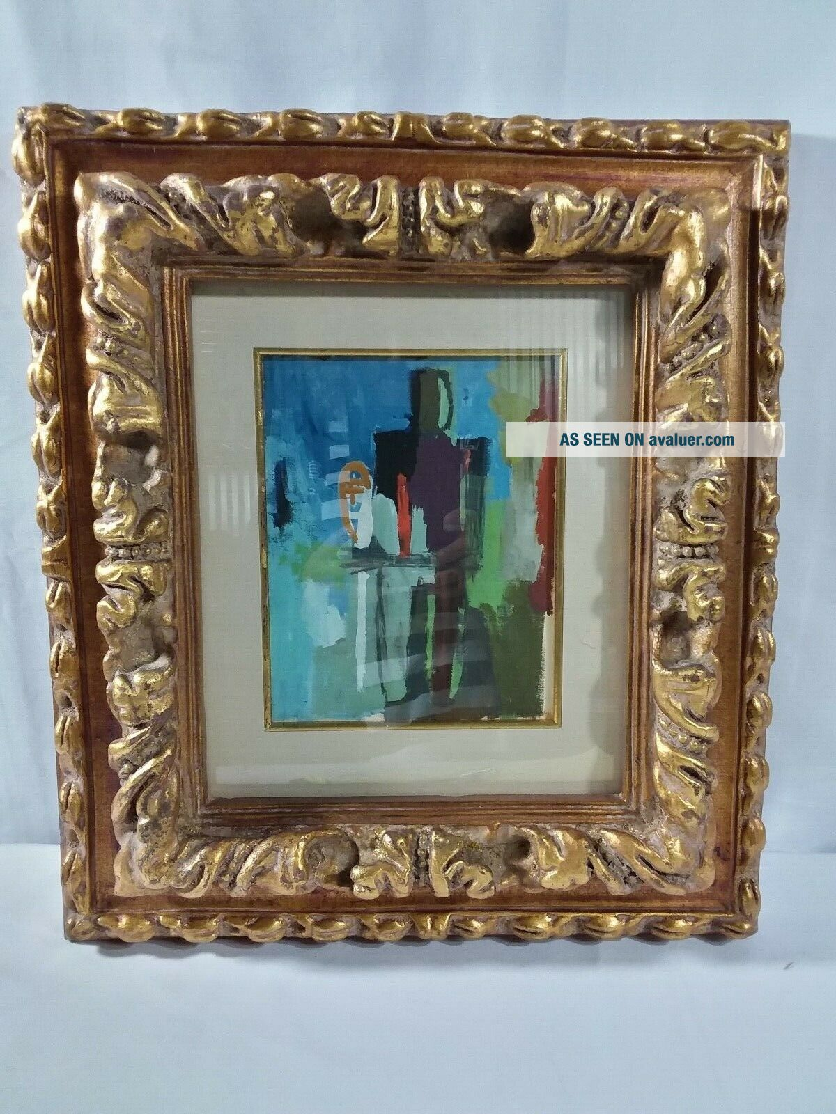 Vintage Colorful MCM Watercolor Male Abstract Signed Perez