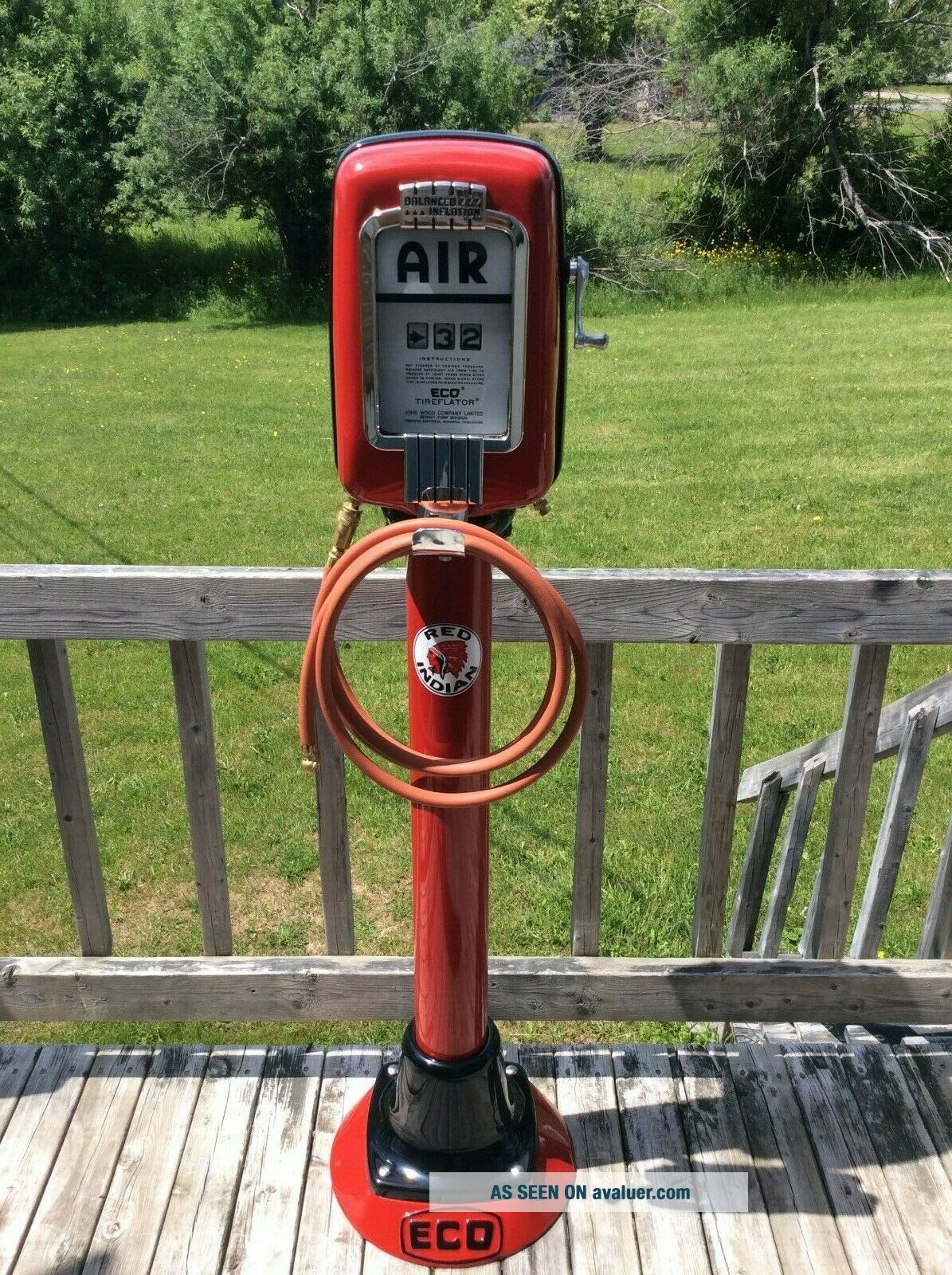 OLD ECO AIR METER TIREFLATOR WITH POST AND HEAVY STABLE BASE RED INDIAN COLORS