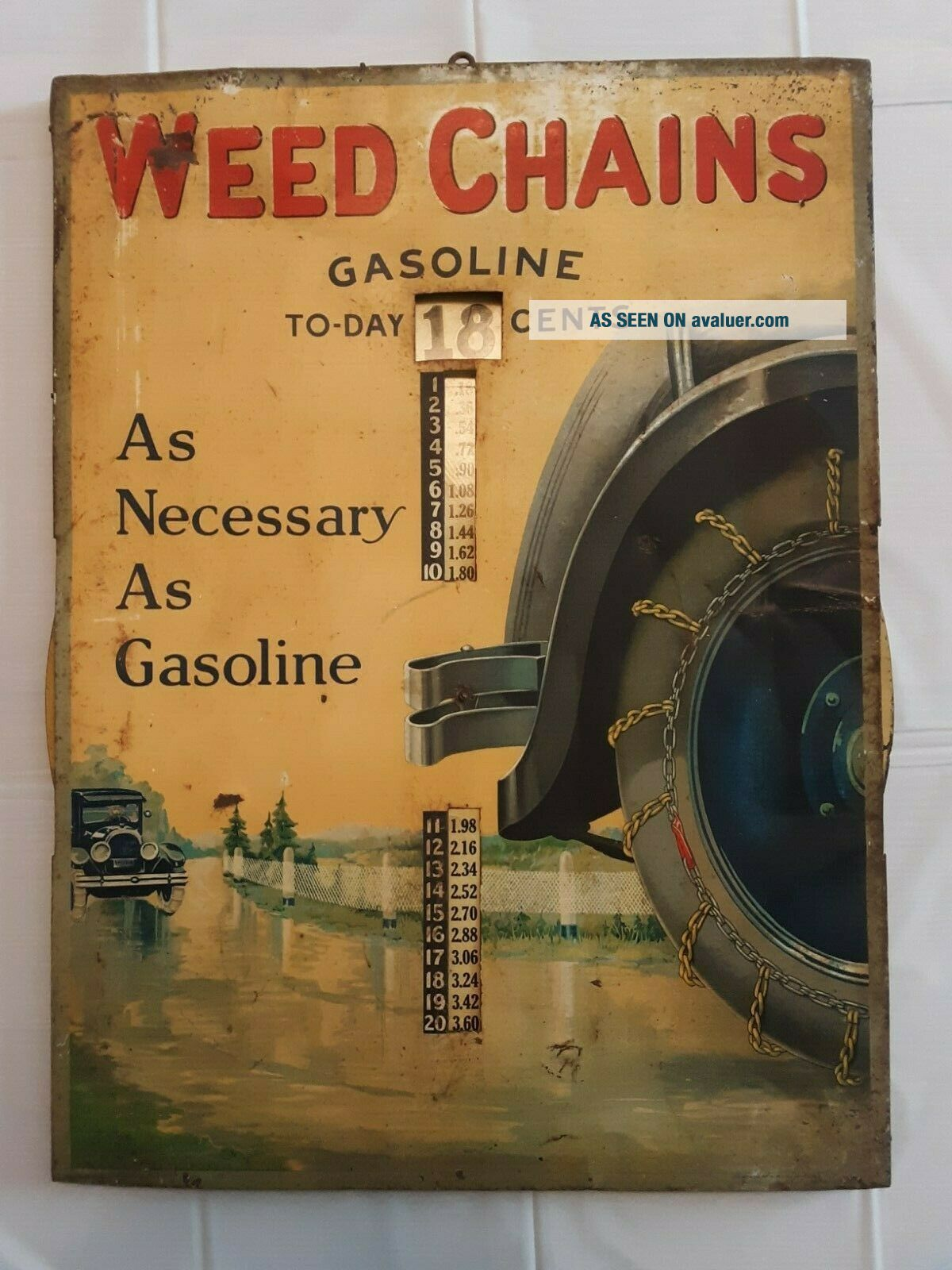 1920 ' s Weed Tire Chains Tin and Wood Frame Sign with old gas pricing