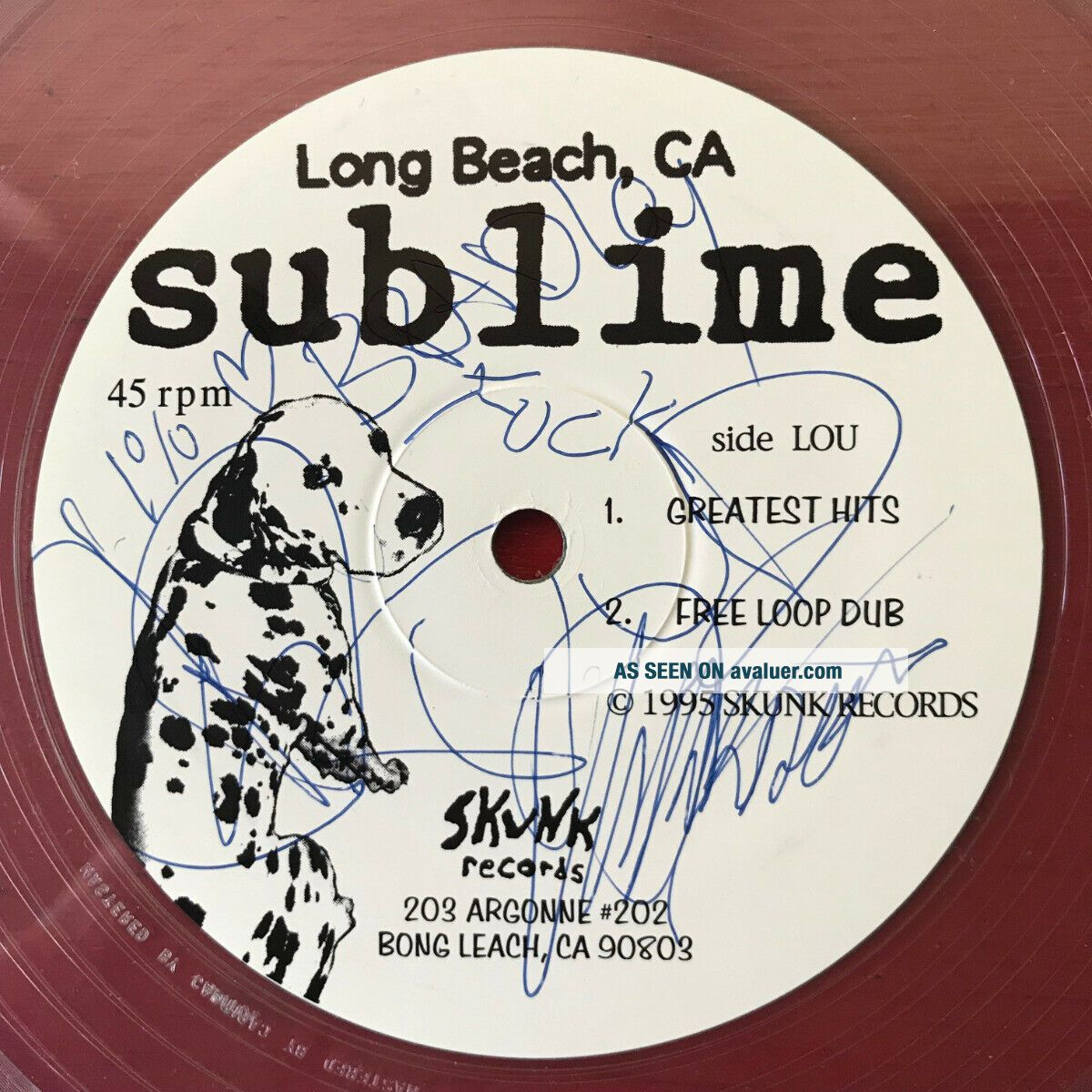 SUBLIME on Skunk —DATE RAPE— clear vinyl 12