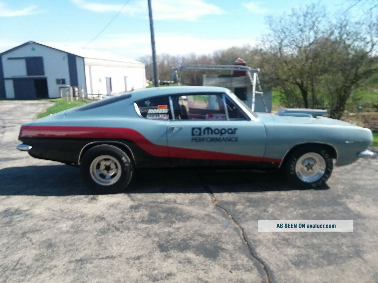 1967 plymouth barracuda car.  Set up for drag racing.  5 point harness,  roll cage.