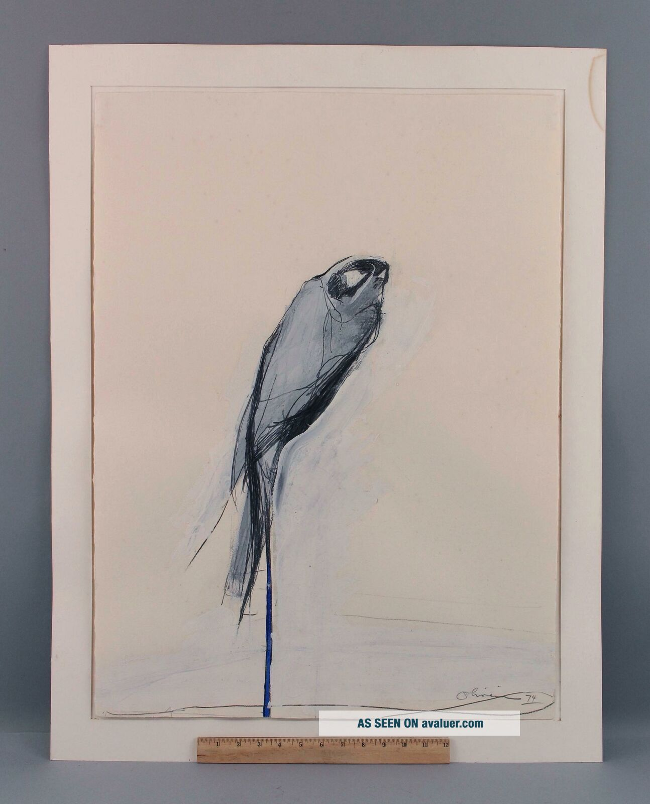 Mid - Century Nathan Oliveira Mixed Media Painting Gouache & Charcoal Perched Hawk