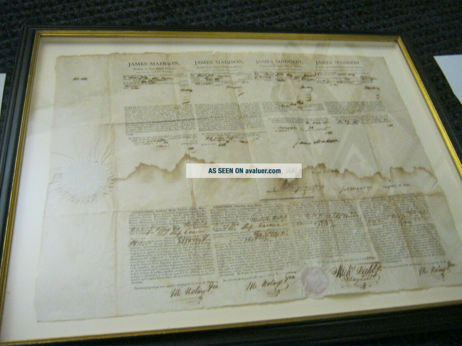Presidents JAMES MADISON JAMES MONROE Dual AUTOGRAPH Ship ' s Papers SIGNED 1812