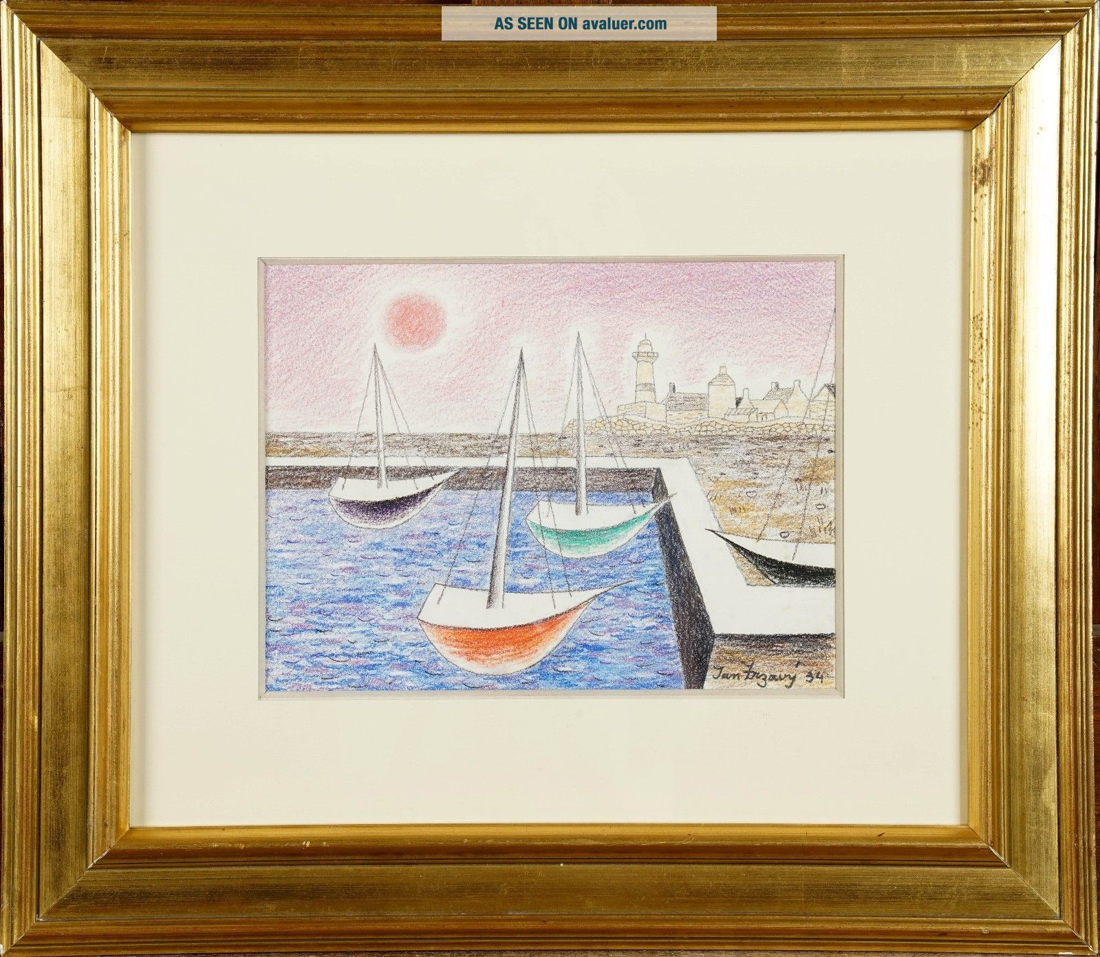 Jan Zrzavy / Czech 1934 painting COAST WITH BOATS,  with gallery receipt