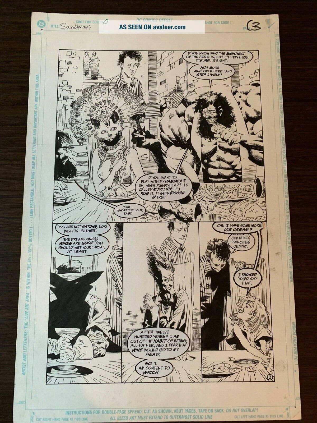 Sandman 26 Page 3 Art Kelley Jones & George Pratt w/ Thor,  Loki,  Odin
