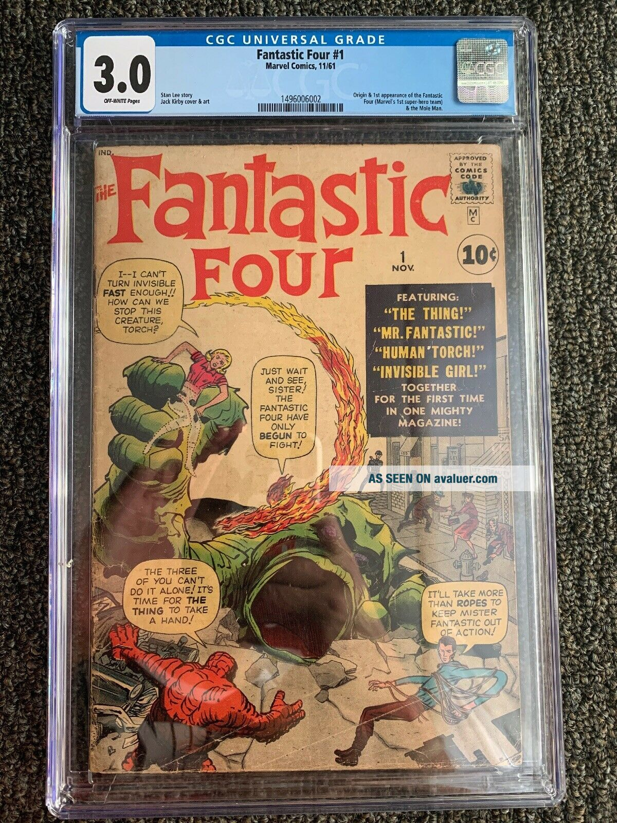 Fantastic Four 1 CGC 3.  0 (OW Pages) 1st Appearance Fantastic Four - Marvel
