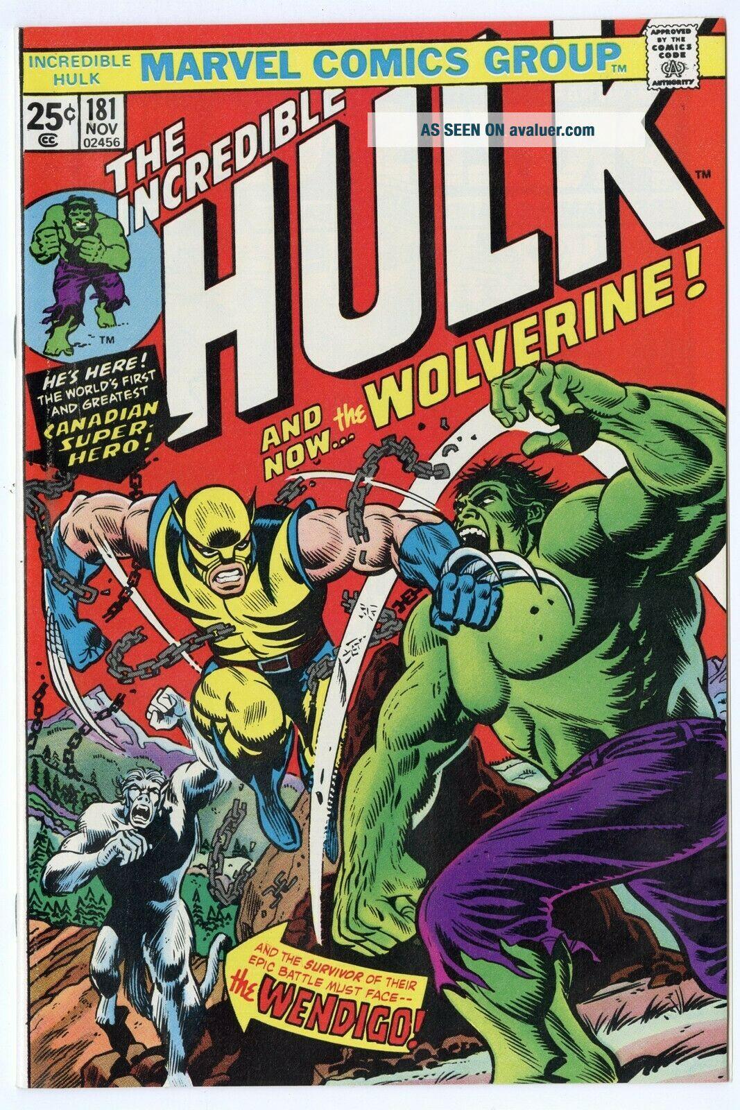 Hulk 181 NM 9.  4 white pages 1st Full app.  Wolverine Marvel 1974