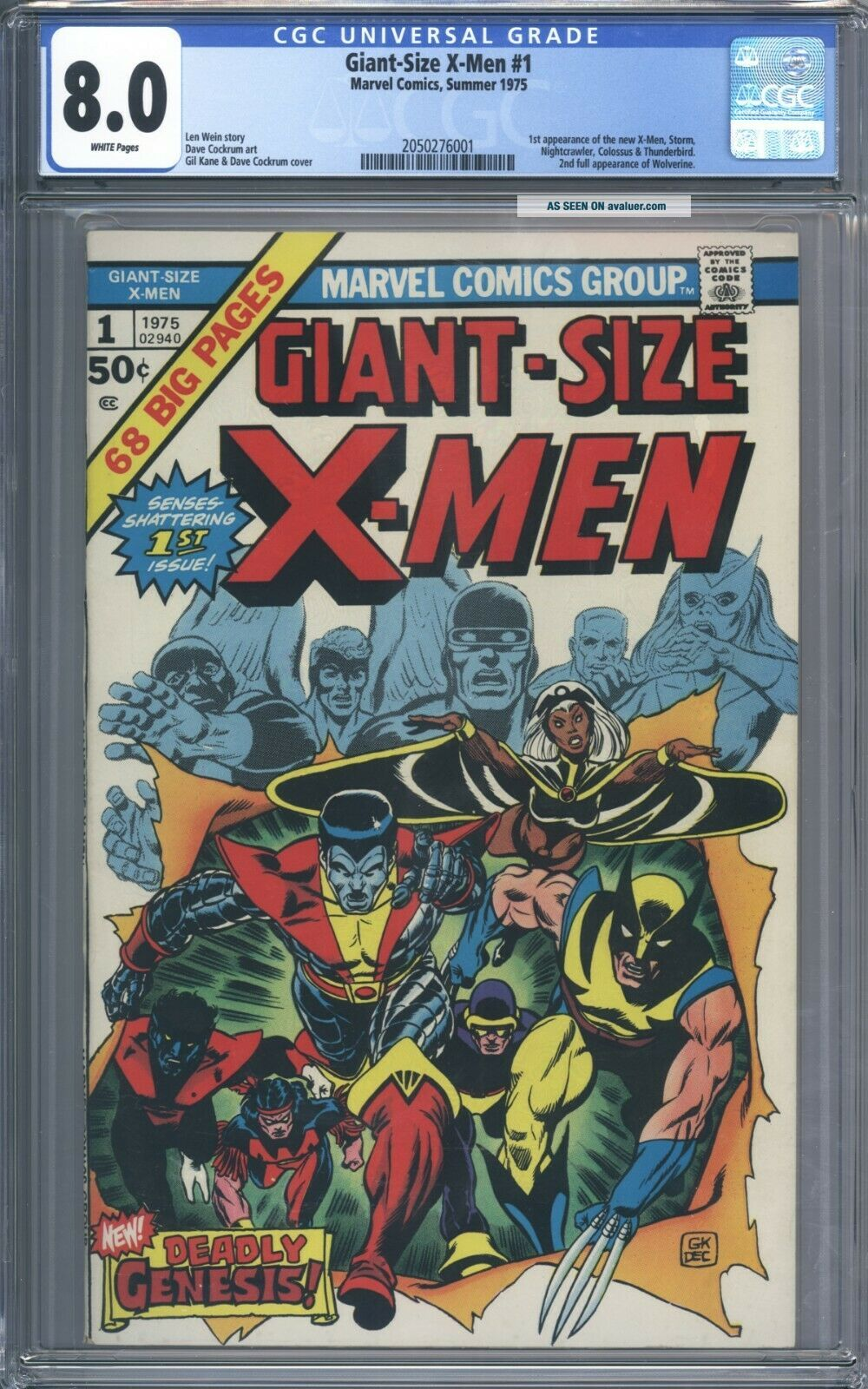 Giant Size X - Men 1 CGC 8.  0 Great Looking Book 1st Storm Colossus Nightcrawler