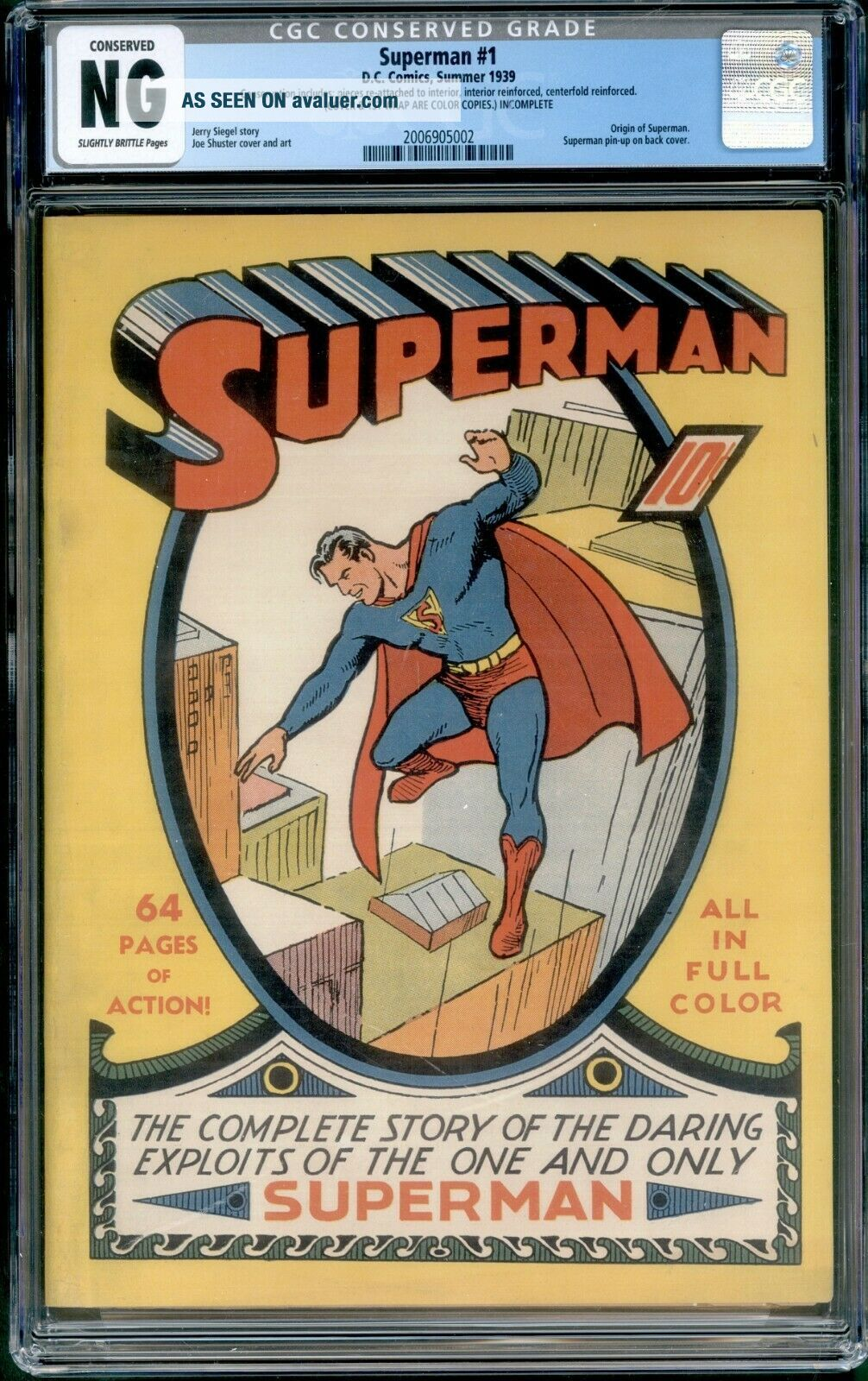 Superman 1 CGC NG Conserved coverless DC 1939 3rd most valuable comic GA Grail