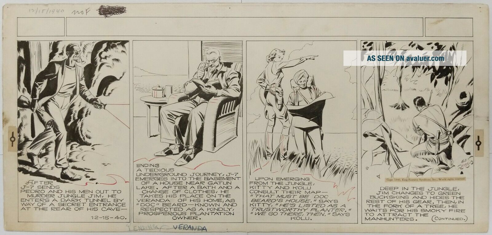 ART,  ALEX RAYMOND,  JUNGLE JIM (1940 - 12 - 15) topper - format Sunday strip