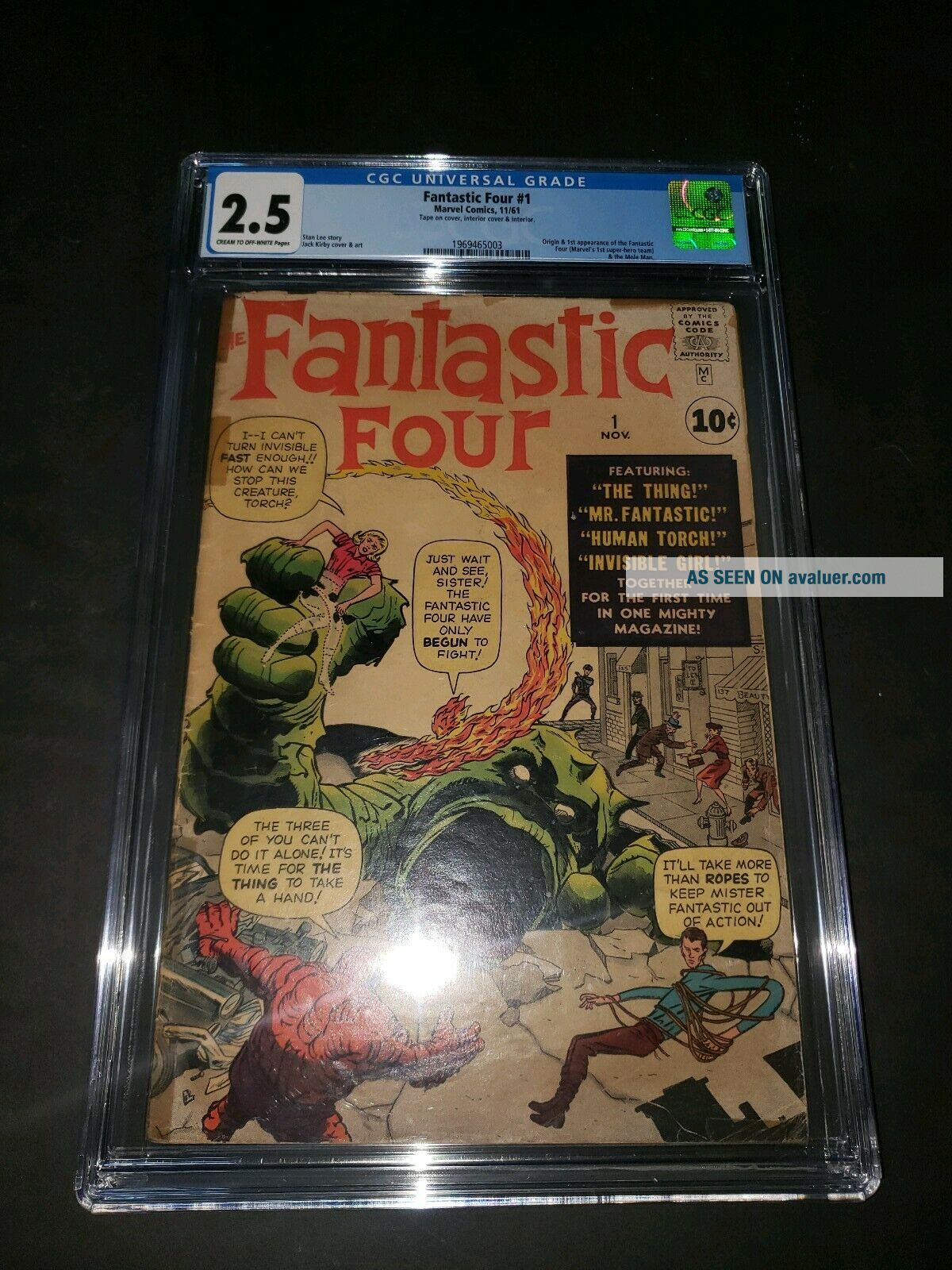 FANTASTIC FOUR 1 CGC 2.  5 STAN LEE.  Key.  1st appearance.