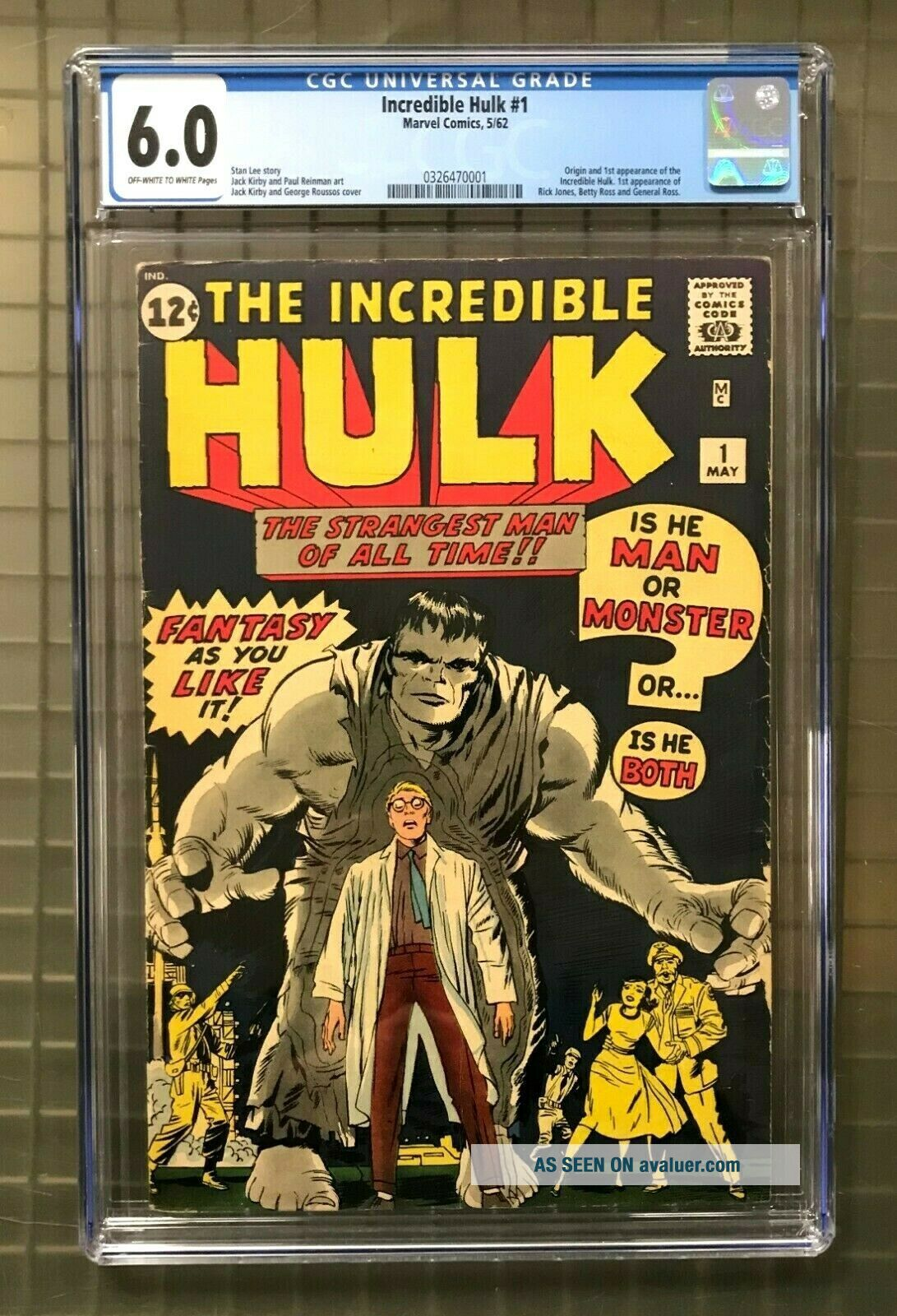 INCREDIBLE HULK 1 Marvel Comics 1962 CGC 6.  0 1st Appearance of Hulk HIGH END