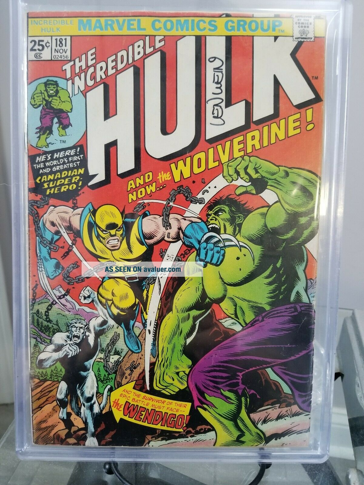 The Incredible Hulk 181 Autographed by the late Len whein has mv stamp
