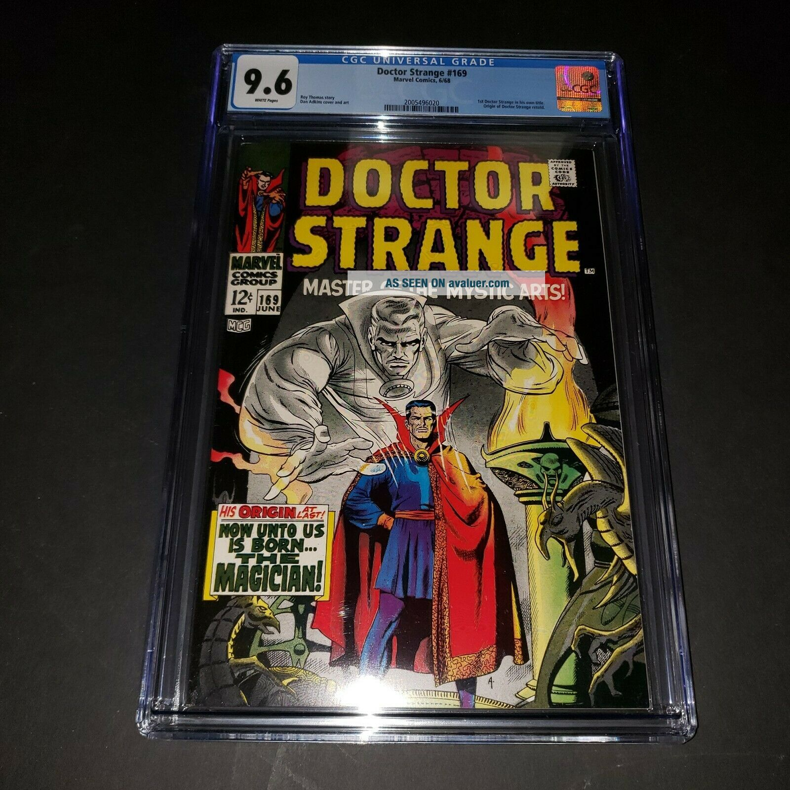 Doctor Strange 169 CGC 9.  6 White pages.  Marvel 1968 key book 1st in own title
