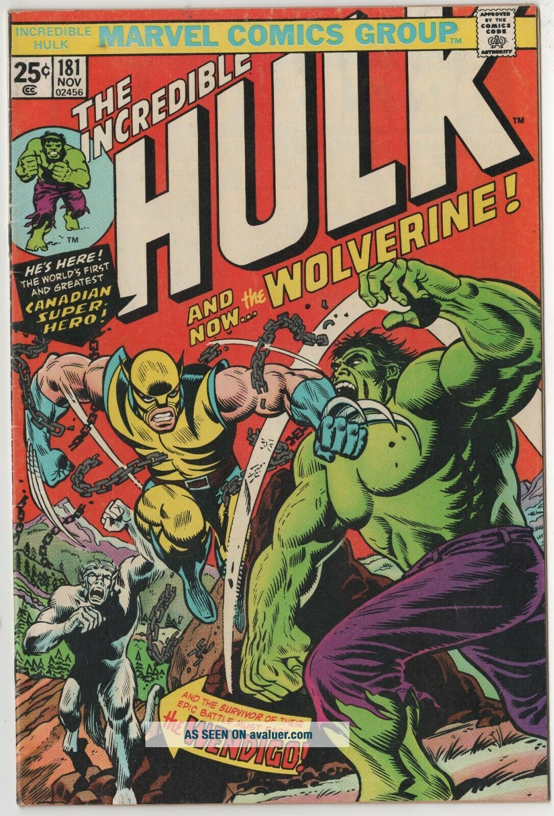 Incredible Hulk 181.  1st Wolverine With stamp.  Solid book