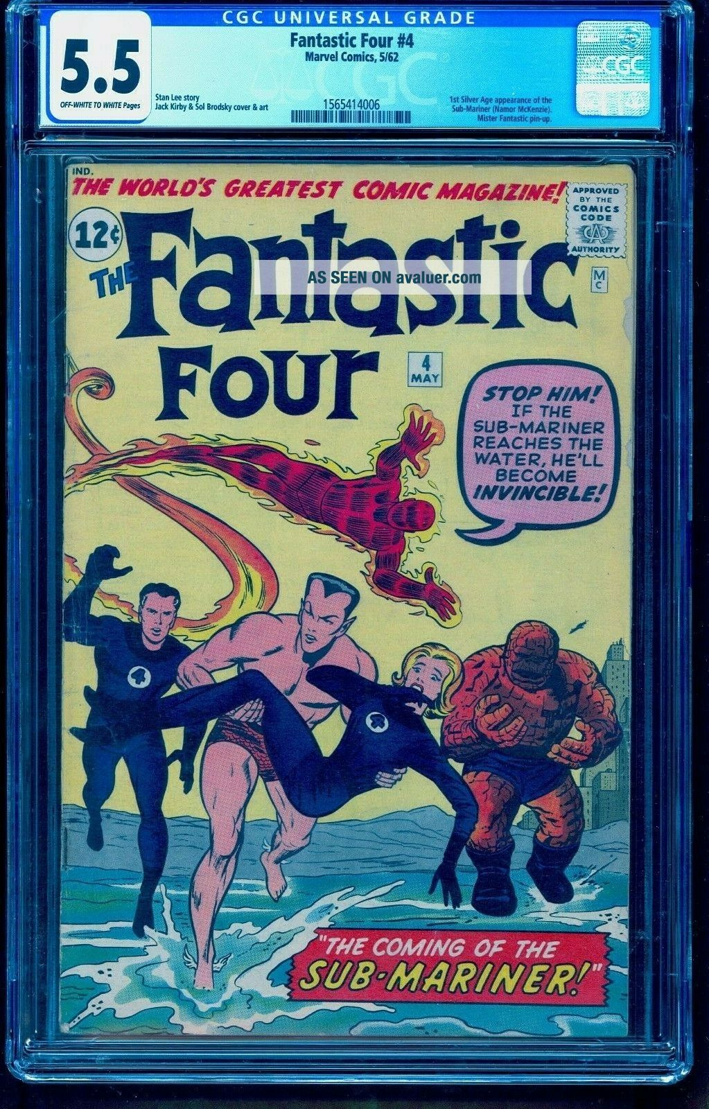 FANTASTIC FOUR 4 CGC 5.  5 OWW 1ST SA SUBMARINER BRIGHT COLOR NO MARKS STAMPS