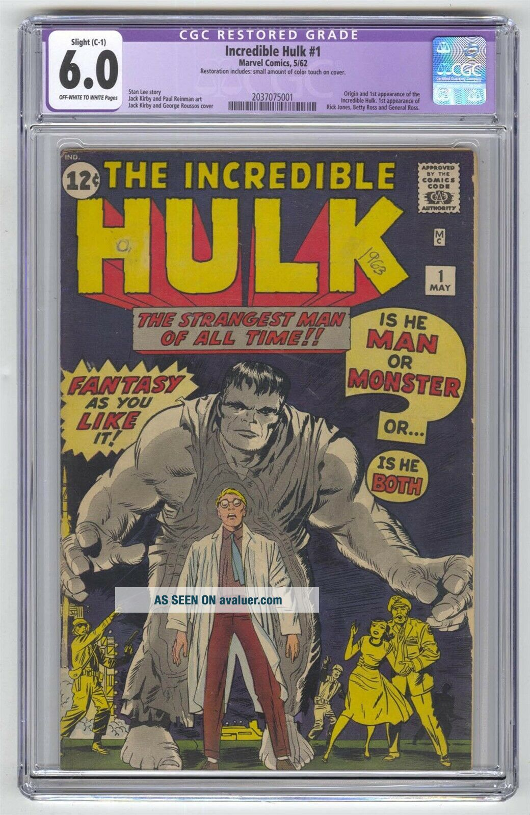 Incredible Hulk 1 CGC 6.  0 Marvel Comic MEGA KEY 1st Banner Betty Gen Ross Jones