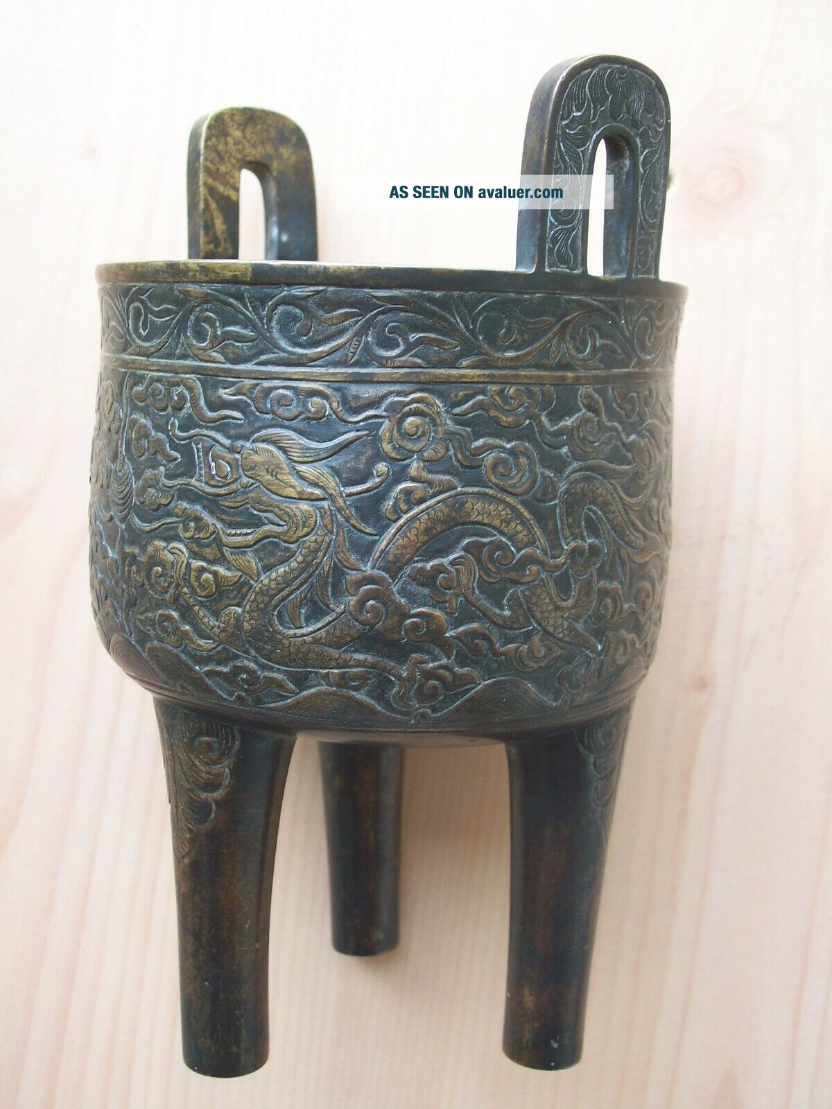 CHINESE BRONZE DING TRIPOD CENSER MING DRAGON DECORATION