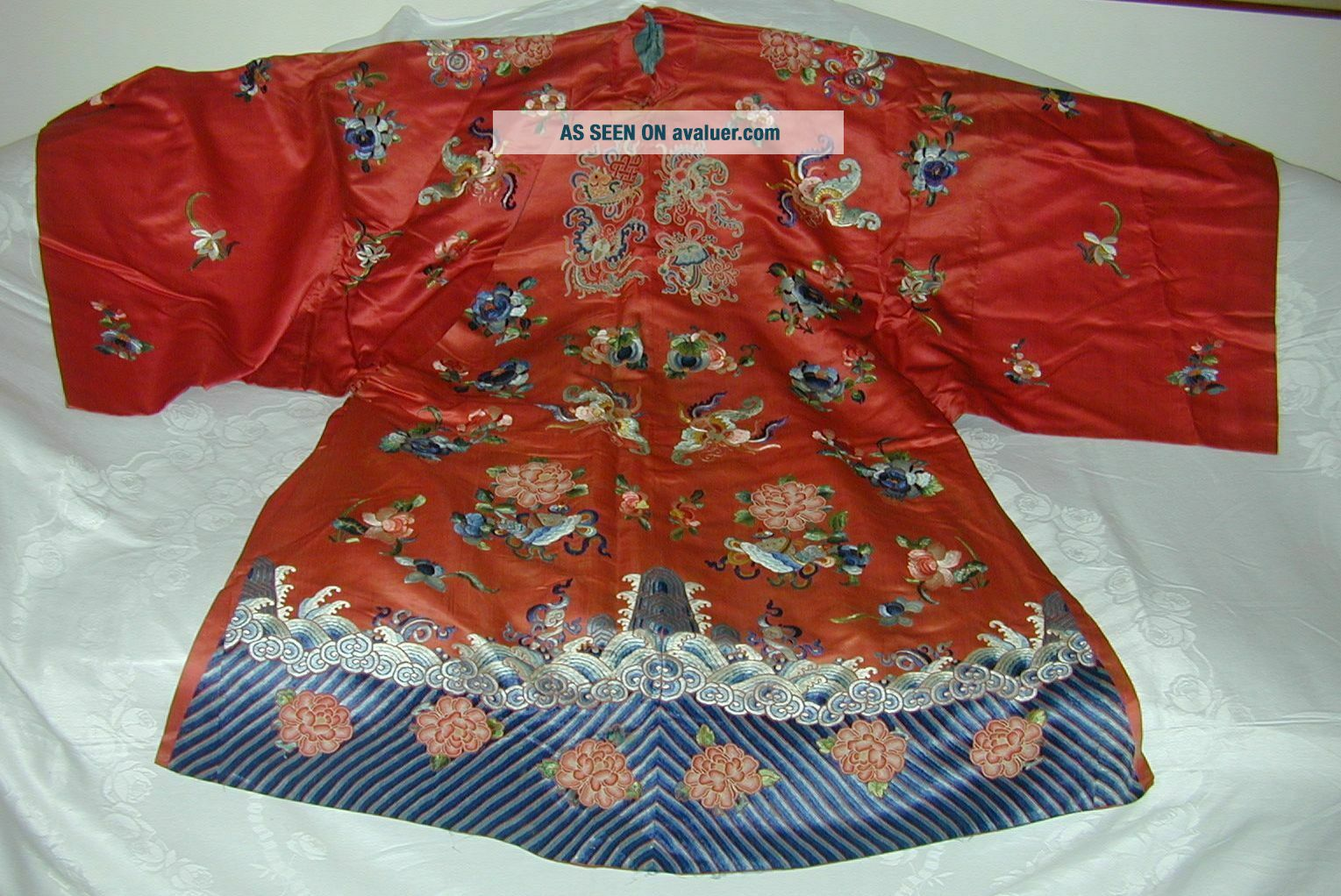 Antique Chinese Embroid Red Silk Robe - Many Bats & Forbidden Stitch Peonies