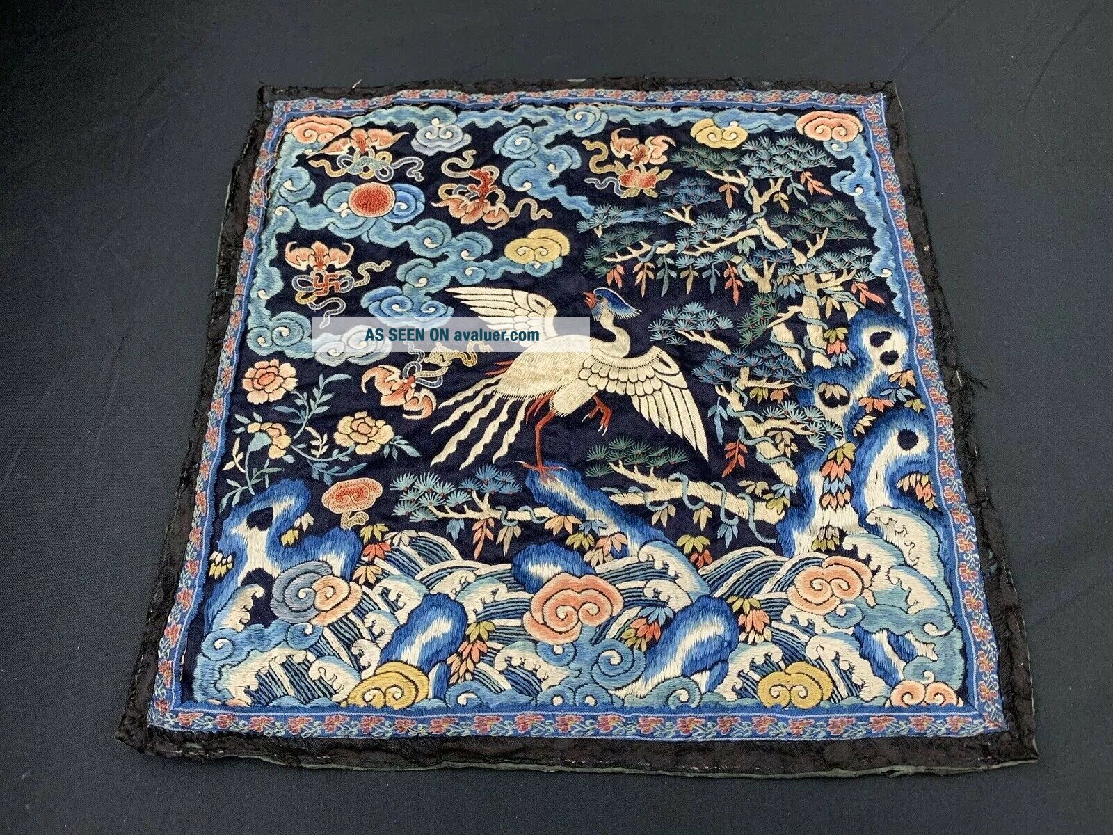 Antique Early 19th C.  Qing Dynasty Chinese Silk Embroidery Rank Badge Of Bird