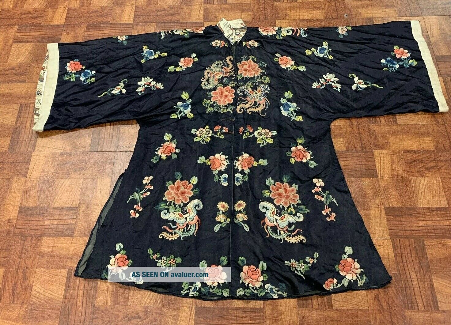Antique Chinese Qing Dynasty 19th Century Embroidery Silk Robe