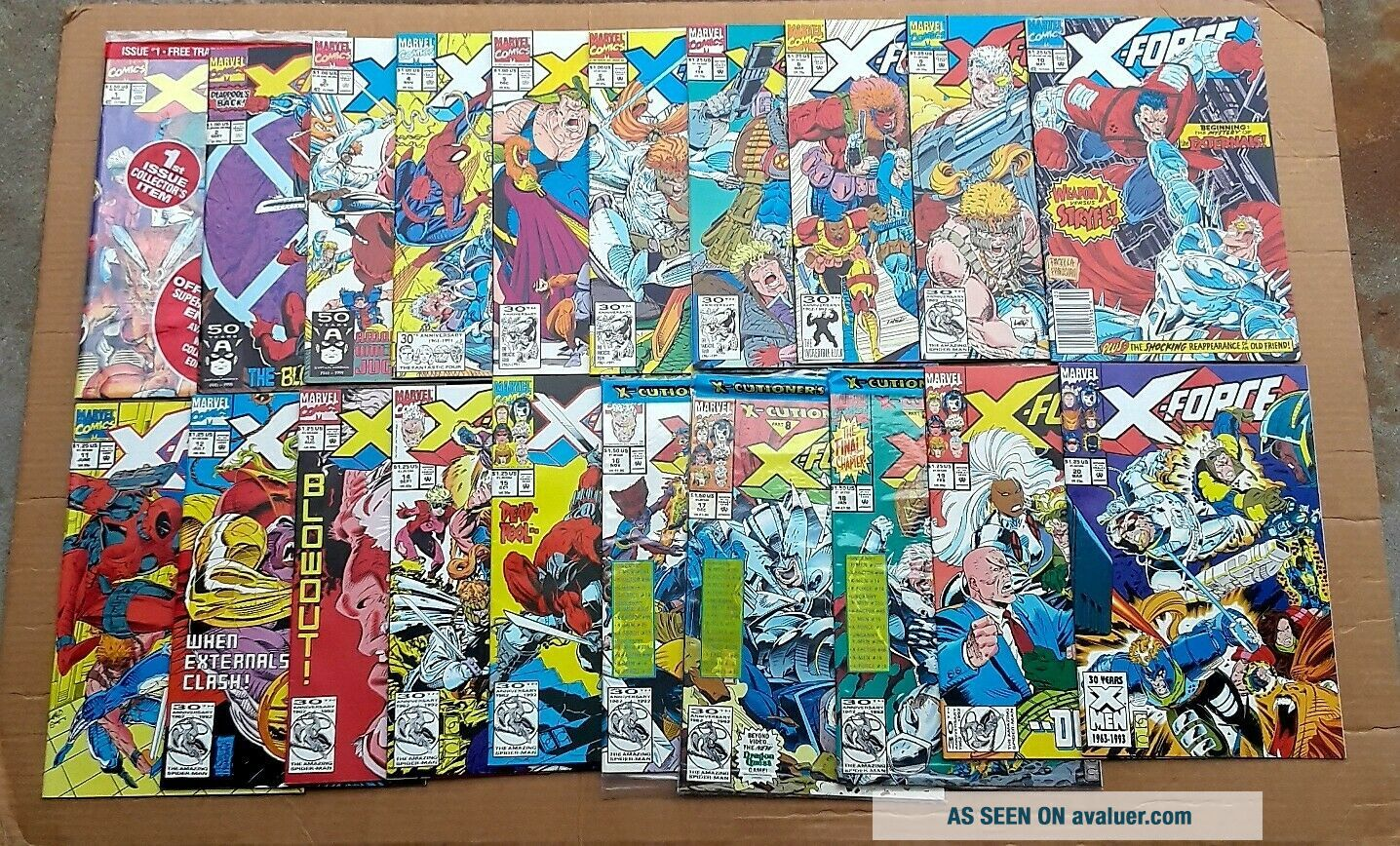 X - Force Complete Run 1 - 40 1st Issue Deadpool ' s 2nd App 1st Domino 1991 VF/NM