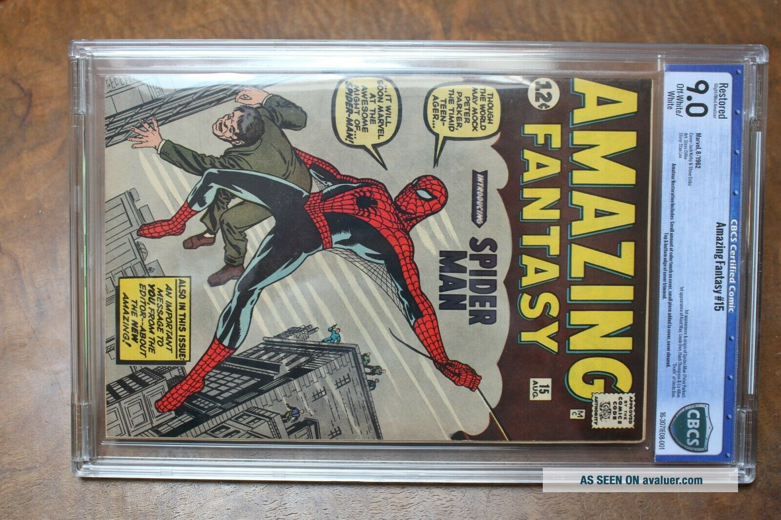 Authentic Fantasy 15 Comic Book Spiderman 12c 1962 Certified