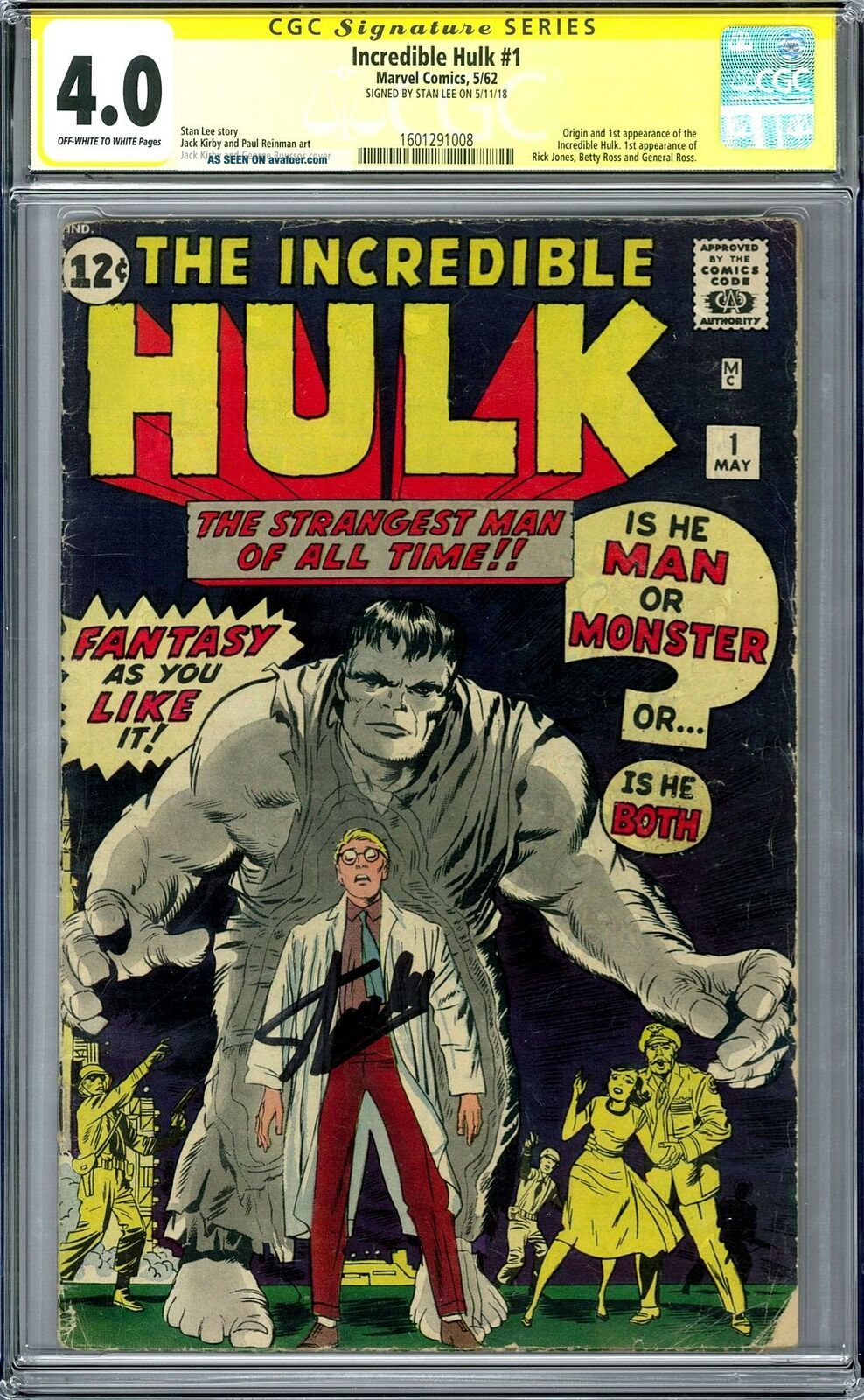 Incredible Hulk 1 CGC 4.  0 Stan Lee Signature Series (OW - W) 1st Hulk ENDGAME