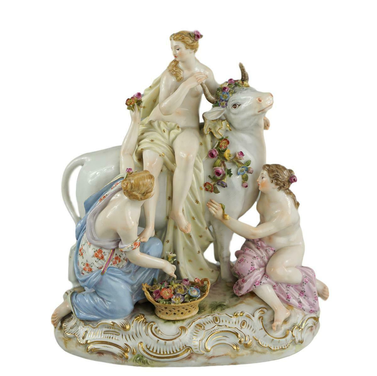 Antique Meissen porcelain GROUP OF EUROPA AND THE BULL