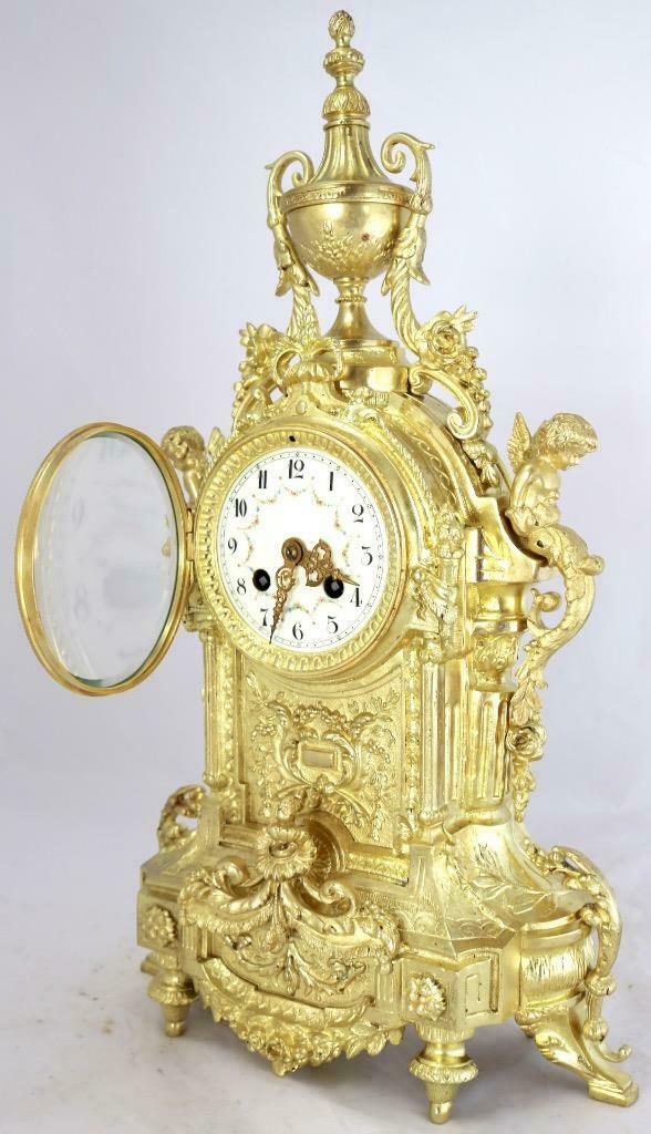 Large Antique French Mantle Clock Stunning 1880 ' s Embossed 8 day Gilt Bronze