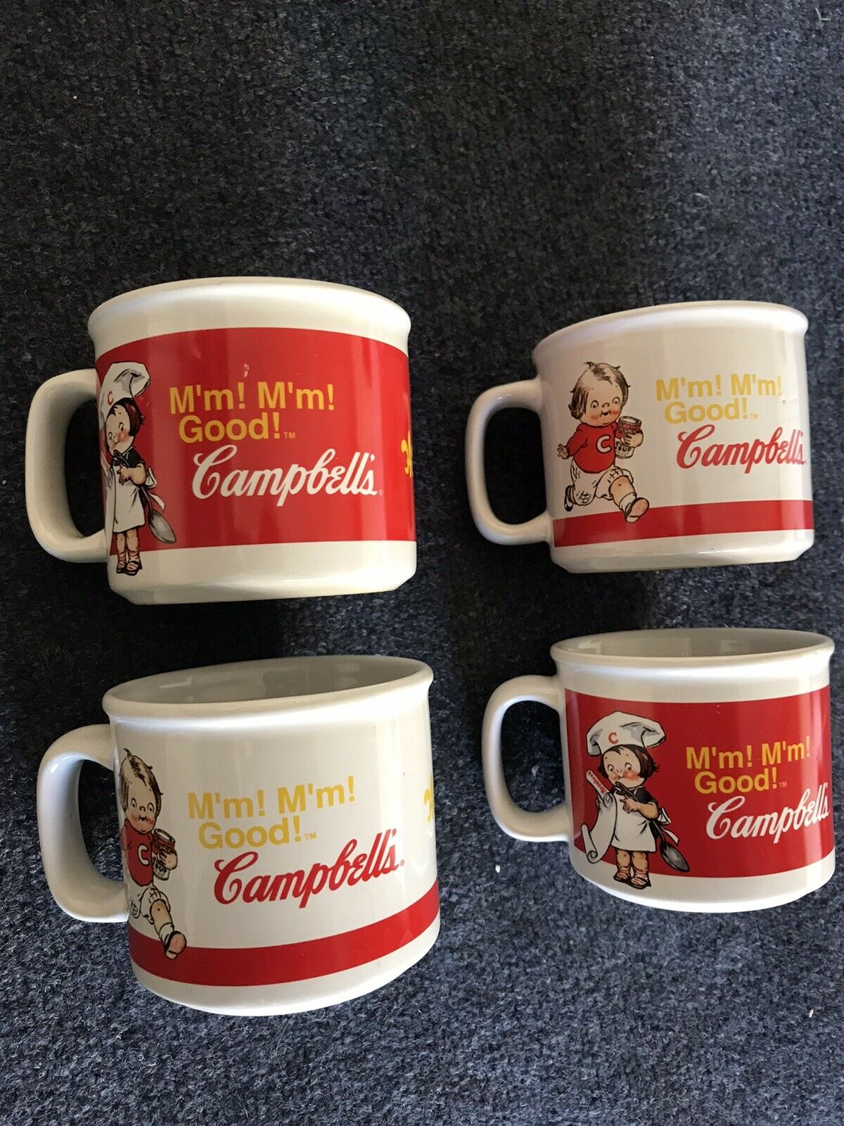 Campbell ' s Soup Souper Collectible Mugs Set of 4 Mmm'mmm Good Vintage GUC