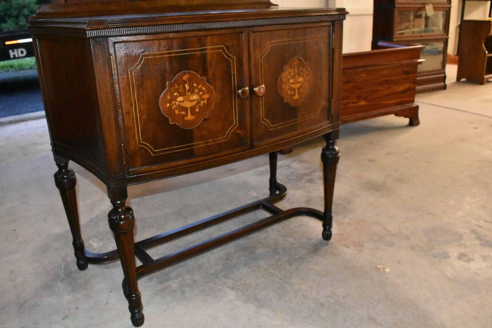 Antique Walnut Cabinet Dining Room Server Buffet Credenza With Decorative Wood I