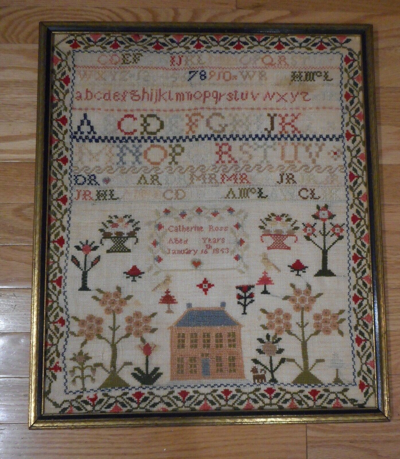 Antique 1853 Needlework Sampler by Cathrine Ross Trees,  House,  ABC ' s