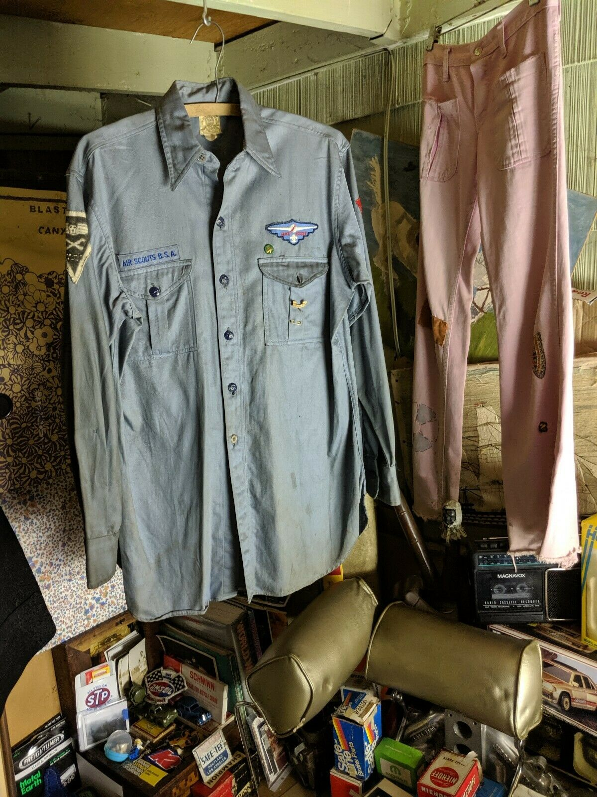40s Air Scouts Shirt w/ hand made squadron 11 Boy Scout Of America