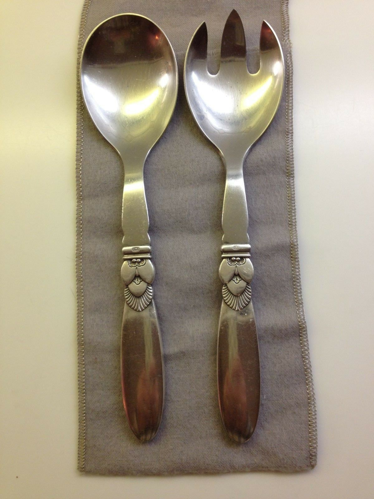 """s circa 1933-1944 CACTUS by GEORG JENSEN Sterling Silver 5 1//8/"""" Pastry Fork"""