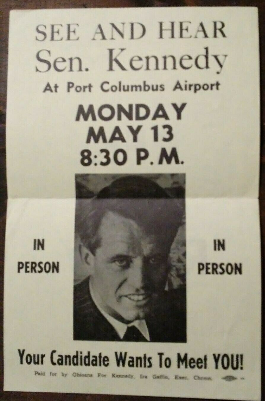 RFK campaign flyer,  5.  5 by 8.  5 inches.
